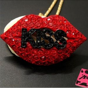 Betsey Johnson Jewelry - BETSEY JOHNSON~ Red KiSS Necklace